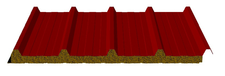 panneaux sandwich autoportant isolants en laine de roche pour couverture profil 5 plis mc1000lr. Black Bedroom Furniture Sets. Home Design Ideas