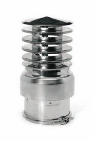 Conduit fum e foyers gaz chapeau saturno en inox 304 double paroi bifluxo v - Chapeau pour conduit de cheminee ...
