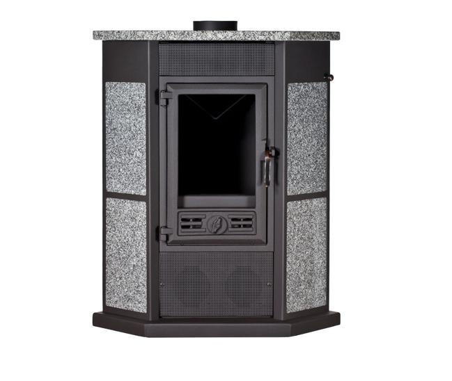 po le bois d 39 angle avec d coration en pierre 11kw rendement 76 5 pedracanto tp. Black Bedroom Furniture Sets. Home Design Ideas