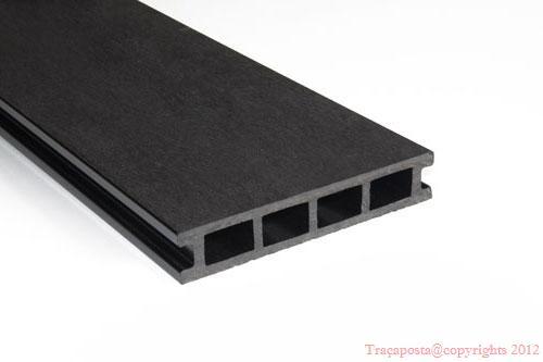 tradeck lames terrasse bois composite 50 bois 50 pvc noir 2200x140x23mm. Black Bedroom Furniture Sets. Home Design Ideas